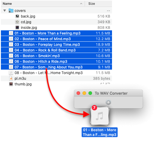 To WAV Converter for Mac OS - Dropping MP3 files