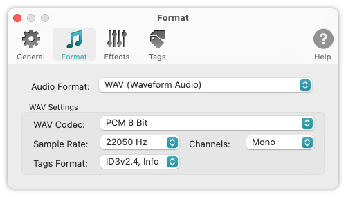 To WAV Converter for Mac OS - Sample Rate, Channels and Audio Codec selected for processing voice audio