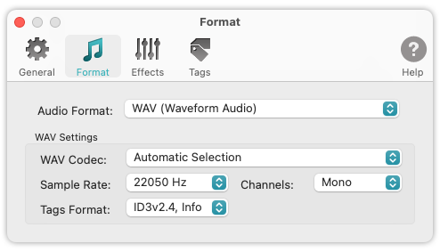 To WAV Converter for Mac OS - Sample Rate and Channels for Processing of Voice Audio
