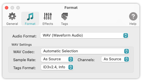 To WAV Converter for Mac OS - Automatic Settings allow to preserve the quality of source audio